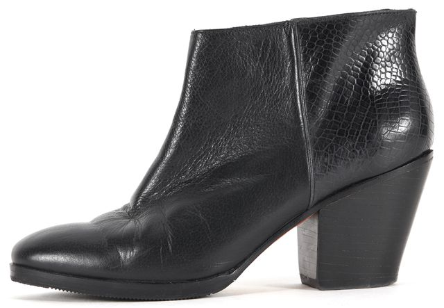 RACHEL COMEY Black Snake Embossed Leather Stacked Ankle Boots