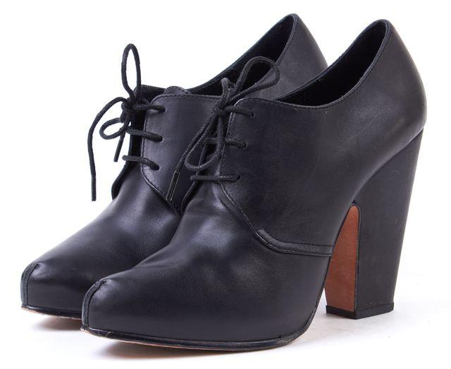 RACHEL COMEY Black Leather Oxford Block Heels