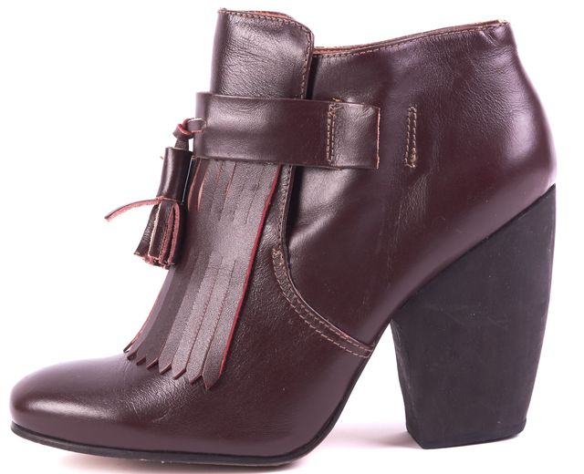 RACHEL COMEY Burgundy Red Leather Kiltie Tassel Ankle Boots