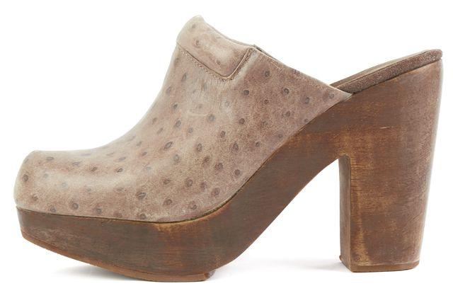 RACHEL COMEY Gray Ostrich Embossed Leather Clogs Platform Heels