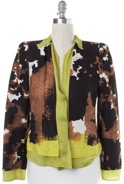 ROBERTO CAVALLI Brown Multi Color Abstract Silk Leno Jacket