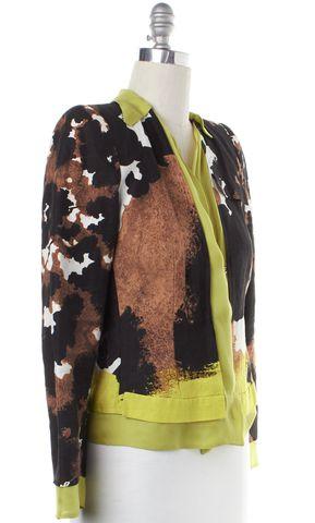 ROBERTO CAVALLI Brown Multi Color Abstract Silk Leno Jacket
