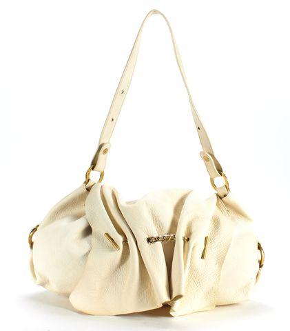 ROBERTO CAVALLI Ivory Pebbled Leather Ruched Shoulder Bag