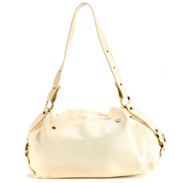ROBERTO CAVALLI Ivory Pebbled Leather Ruched Shoulder Bag