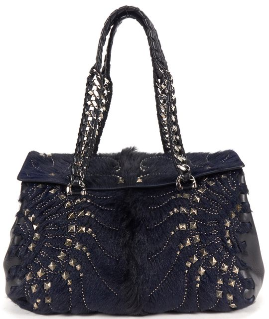 ROBERTO CAVALLI Navy Studded Fur Leather Regina Fold Over Satchel Bag