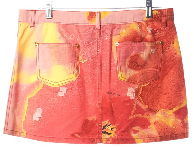 ROBERTO CAVALLI Pink Yellow Red Abstract Floral Print A-Line Mini Skirt