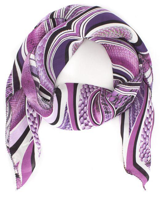 ROBERTO CAVALLI Purple Black White Abstract Printed Silk Small Square Scarf