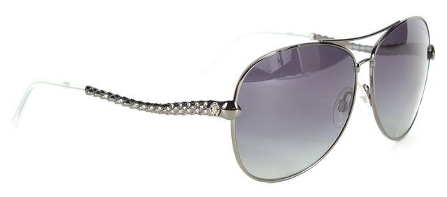 ROBERTO CAVALLI Gunmetal Wire Frame Jewel Embellished Adhil Aviator Sunglasses