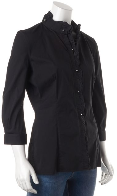 ROBERTO CAVALLI Black Cotton 3/4 Sleeve Button Down Shirt Blouse Top