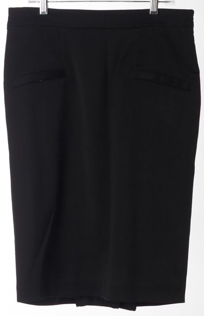 ROBERTO CAVALLI Black Wool Pleated Back Straight Skirt