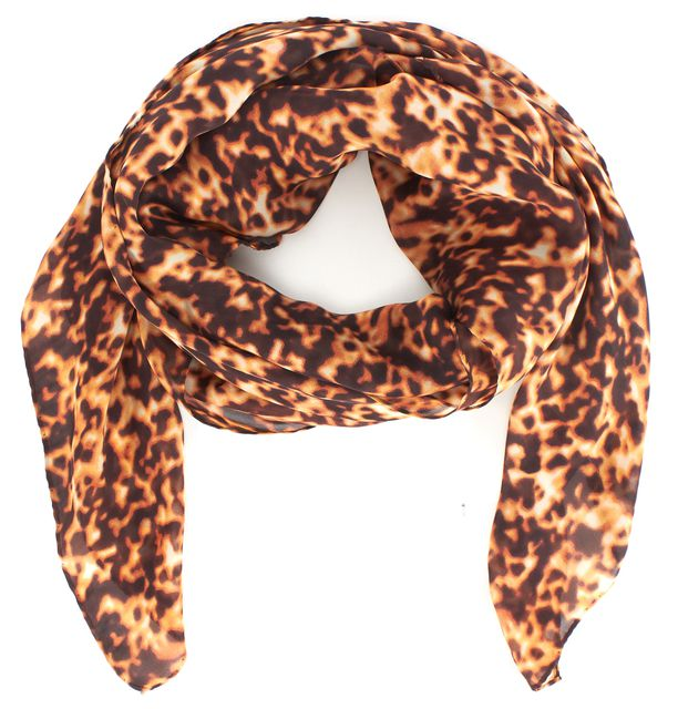 ROBERTO CAVALLI Brown Animal Print Silk Long Scarf