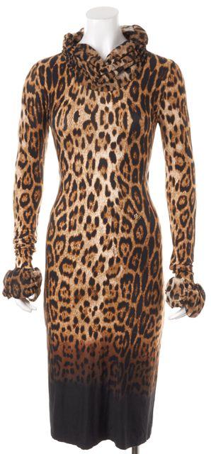 ROBERTO CAVALLI Brown Leopard Printed Jersey Turtleneck Stretch Midi Dress