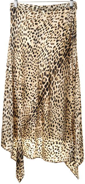 ROBERTO CAVALLI Ivory Brown Black Silk Leopard Print Asymmetrical Skirt