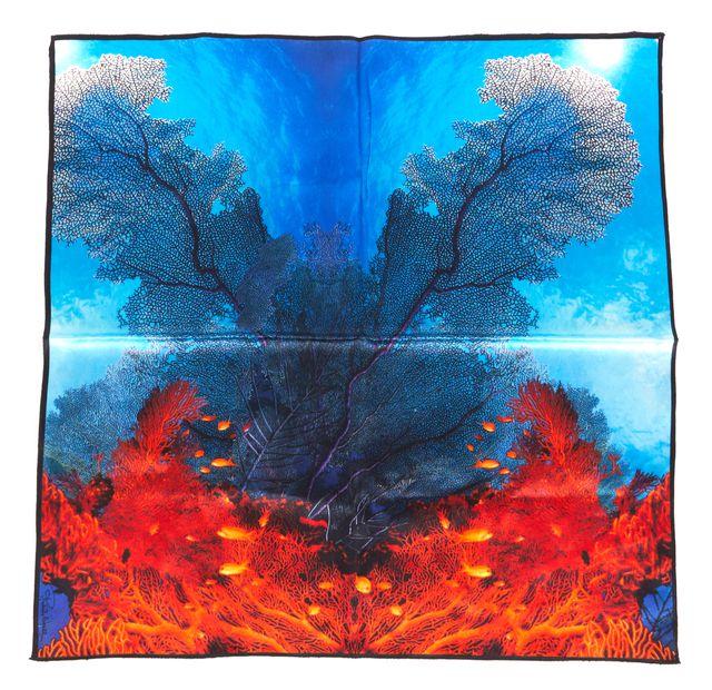 ROBERTO CAVALLI Blue Orange Abstract Fire Silk Small Square Scarf
