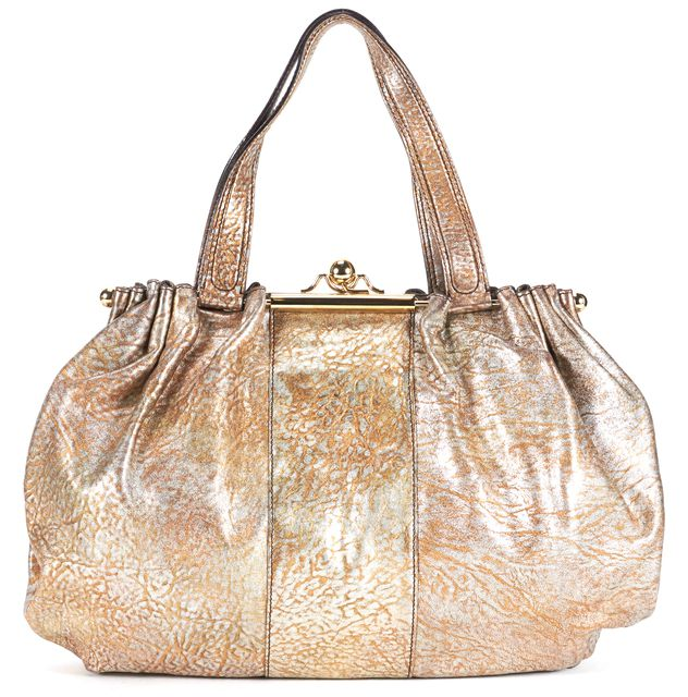 ROBERTO CAVALLI Gold Silver Animal Print Leather Shoulder Bag