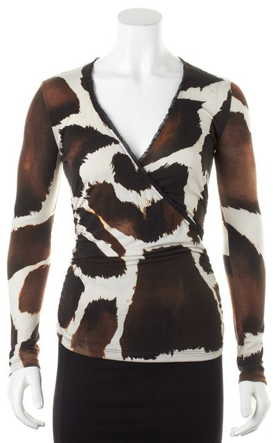ROBERTO CAVALLI Brown White Spot Abstract Long Sleeve Blouse