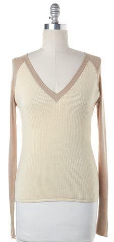 REED KRAKOFF Beige Ivory Wool Knit V-Neck Sweater