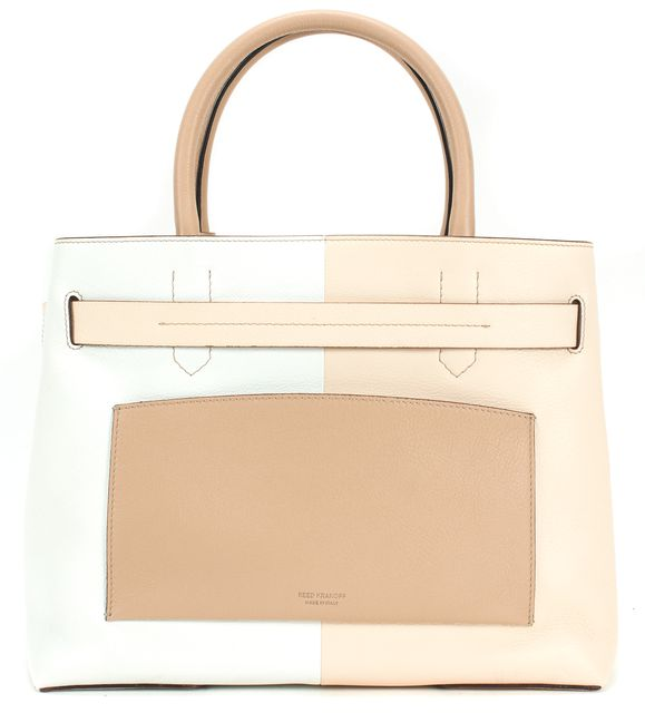 REED KRAKOFF Brown Beige Ivory Leather Color Block RK40 Tote Bag