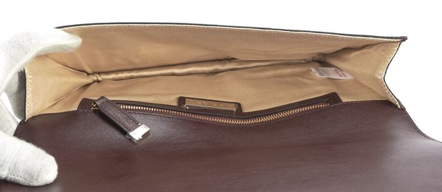 REISS Burgundy Red Patent Leather Fold Over Clutch Bag