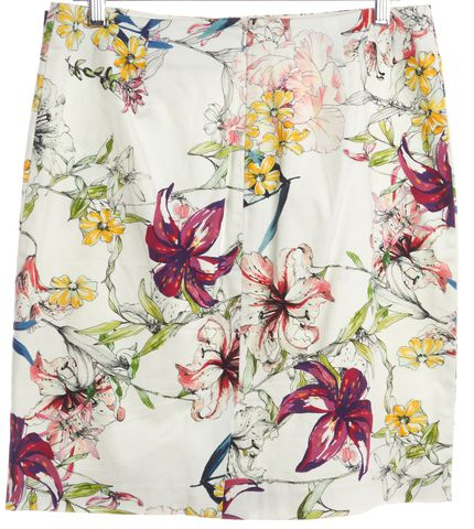 REISS Ivory Floral Print Straight Skirt