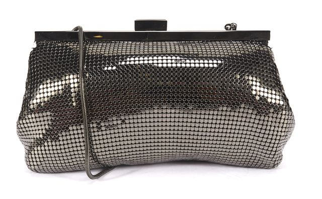 REISS Authentic Pewter Chainmail Convertible Clutch Shoulder Bag