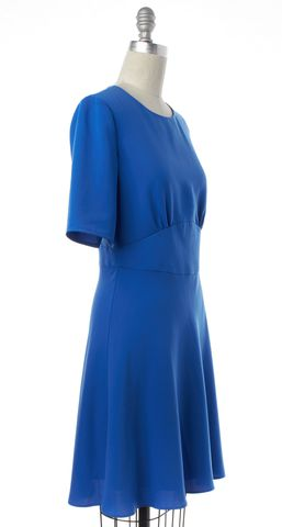 REISS Blue Short Sleeve Crewneck A Line Sheath Dress