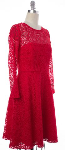 REISS Red Lace Long Sleeve Fit Flare Dress Size 8