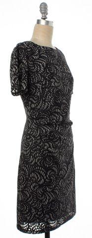 REISS Black Beige Abstract Mesh Short Sleeve Sheath Dress