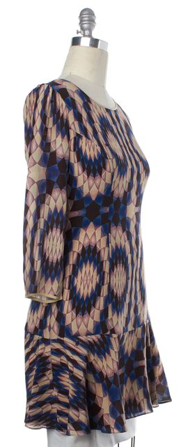 REISS Blue Beige Pink Print Silk Estelle Sheath Dress