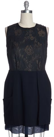 REISS Navy Blue Sheer Floral Sleeveless Lace Sheath Dress