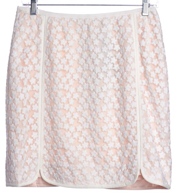 REISS White Pink Floral Embroidered Straight Skirt