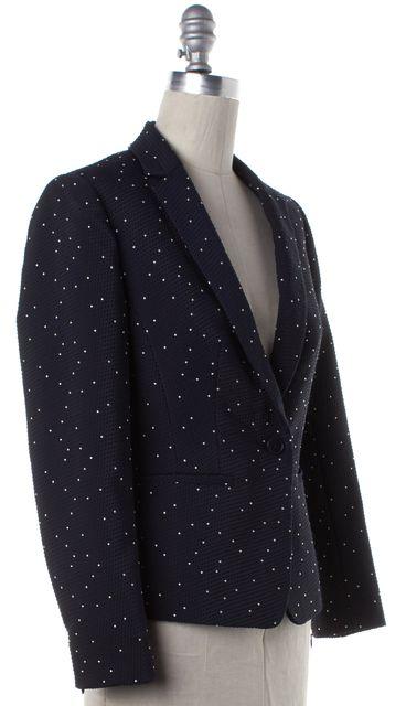 REISS Navy Blue White Polka Dot Embroidered Kallisti Jacket Blazer