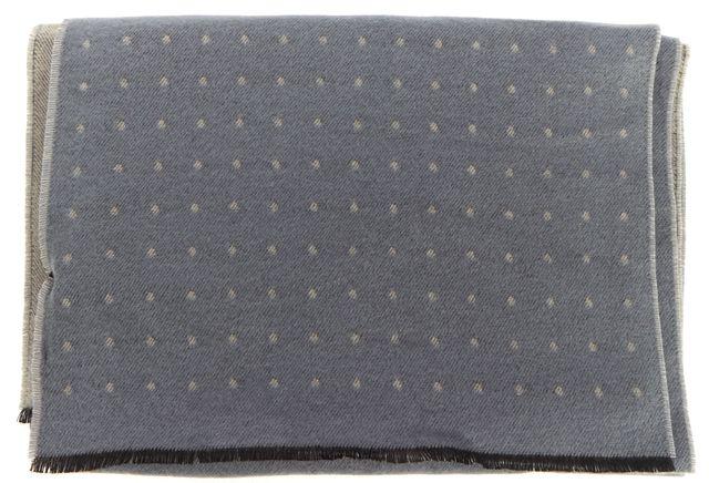 REISS Gray Blue Polka Dot Reversible Fringe Scarf