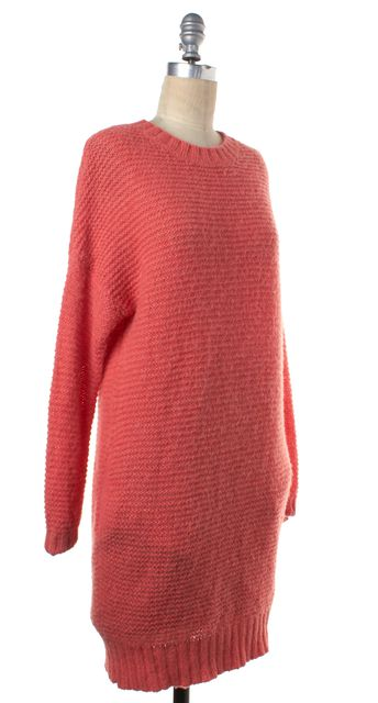 REISS Coral Pink Chunky Knit Long Sleeve Jenny Sweater Dress w Pockets