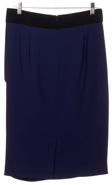 REISS Navy Blue Black Draped Pleated Straight Skirt
