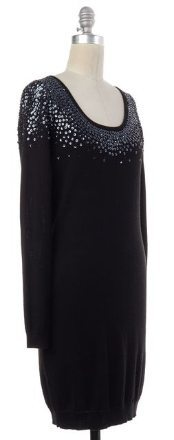 REISS Black Sequin Embellished Wool Stretch Knit Sweater Dress