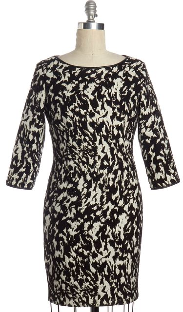 REISS Black White Abstract 3/4 Sleeve Sheath Dress