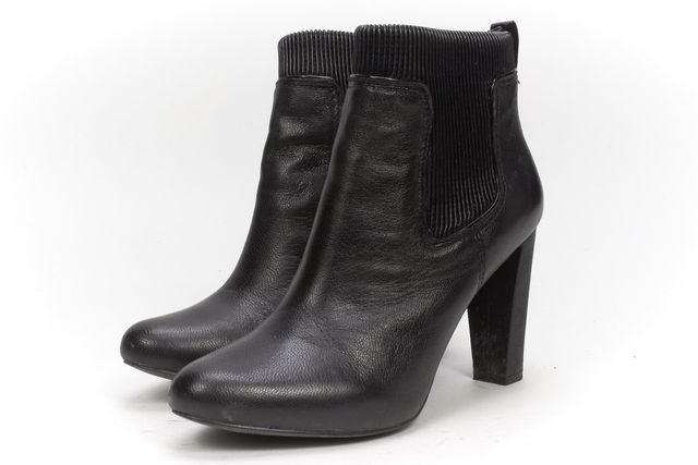 REISS Black Leather Round Toe Ribbed Casual Ankle Boots