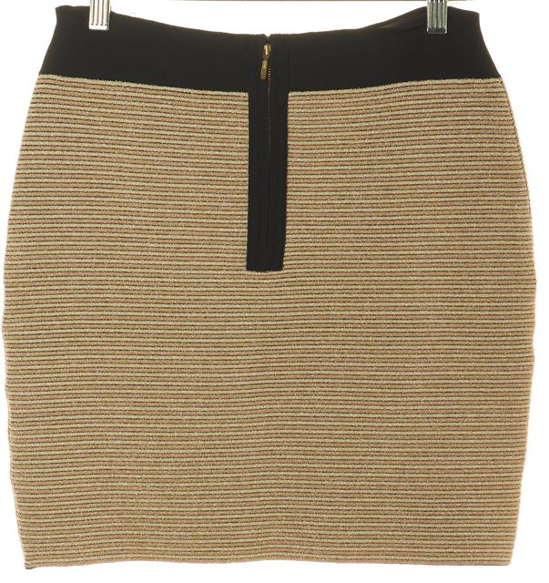 REISS Gold Beige Black Ribbed Cruze Above Knee Pencil Skirt