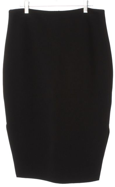 REISS Black Melinda Knee-Length Double Side Slits Pencil Skirt
