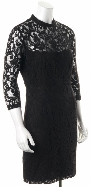 REISS Black Lace Overlay Delilah Mock Neck Sheath Dress