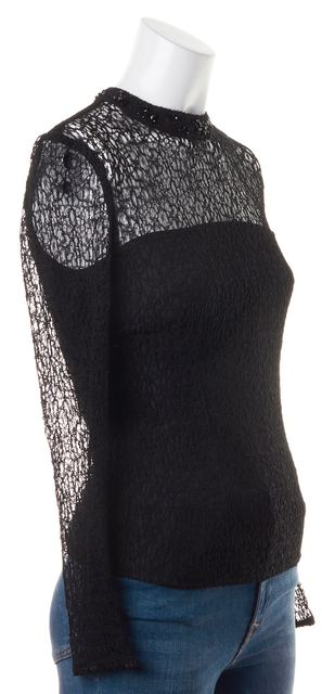 REISS Black Textured Jewel Embellished Collar Turenne Blouse