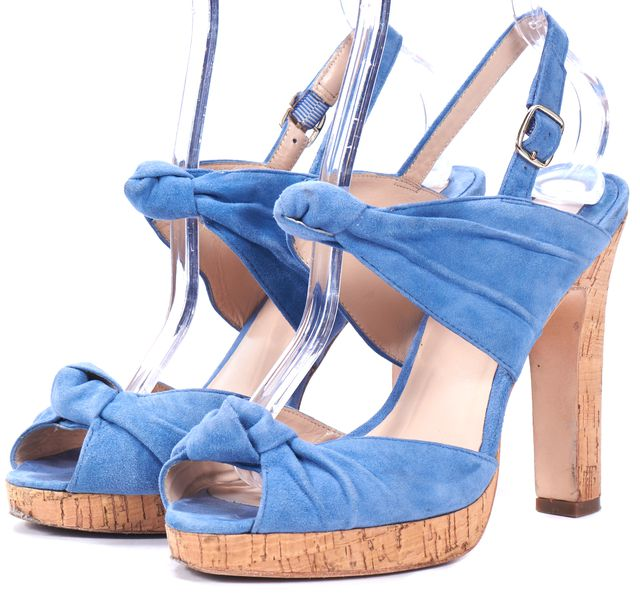 REISS Ice Blue Suede Knotted Sandal Cork Heels