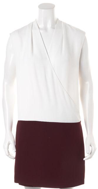 REISS White Maroon Sleeveless V-Neck Harlow Wrap Shift Dress