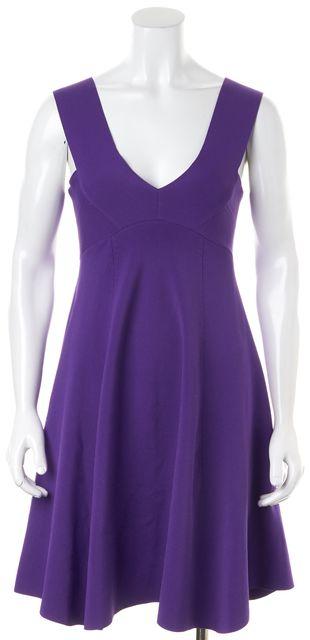 REISS Purple Sleeveless V-Neck Fit & Flare Dress