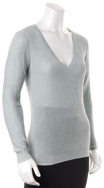 REISS Mint Green Silver Metallic V-Neck Estee Knit Top