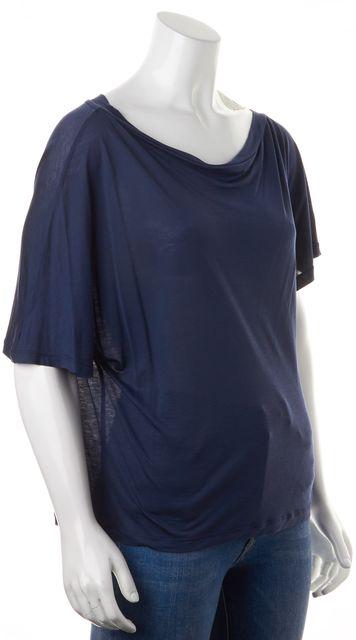 REISS Navy Blue Asymmetrical Short Flare Sleeve T-Shirt