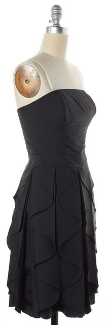 REISS Black Pleated Ruffle Strapless Fit & Flare Dress