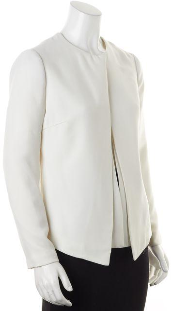 REISS White Collarless Layered Poppy Blazer Jacket