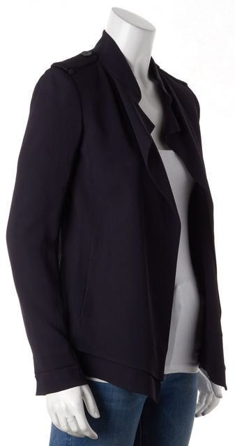 REISS Navy Blue Epaulettes Shoulders Layered Open Magenta Blazer